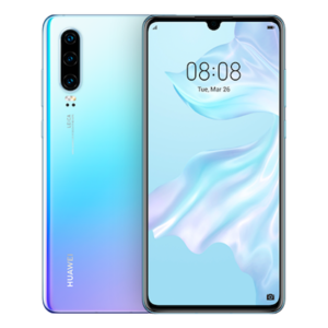 Image of sky blue Huawei P30 smartphone front and back