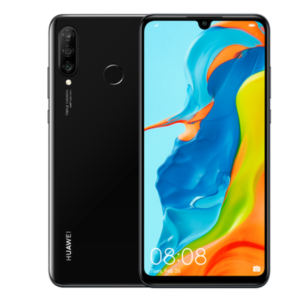 Image of front and back of a black Huawei P30 Lite