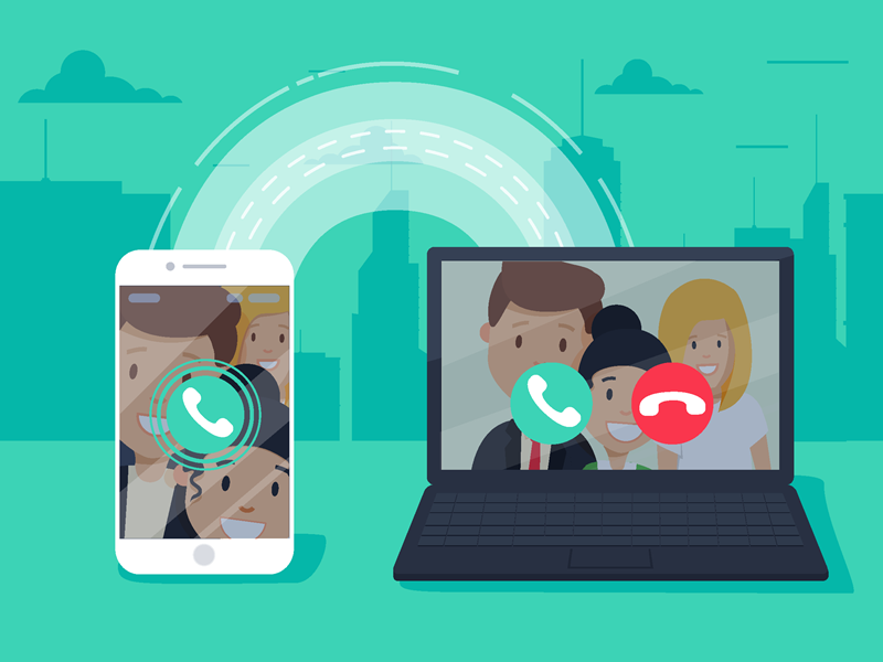 VoIP Phone Services Image, animated laptop and mobile phone connected by a roadway