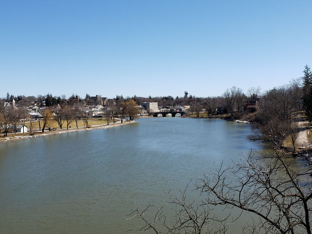 Image of the river and St. Marys, Ontario from the Trestle