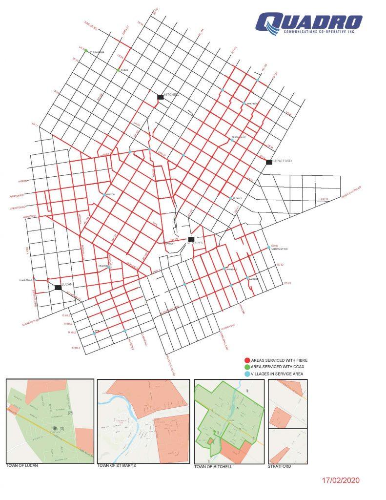 Quadro's Service Area, as at February 2020