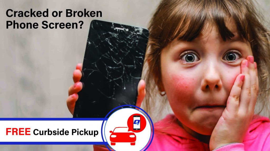 Image of a young girl with damaged cellphone for curbside pickup