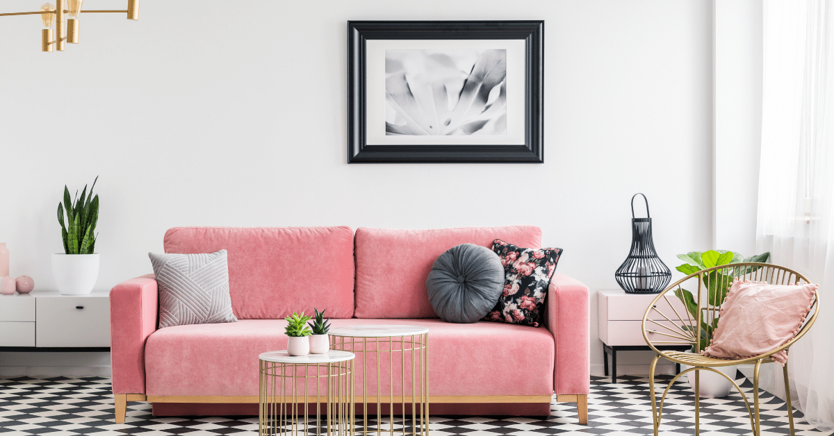 Image of a pastel pink sofa and accessories for the Home Sweet Home Picking Pastels post