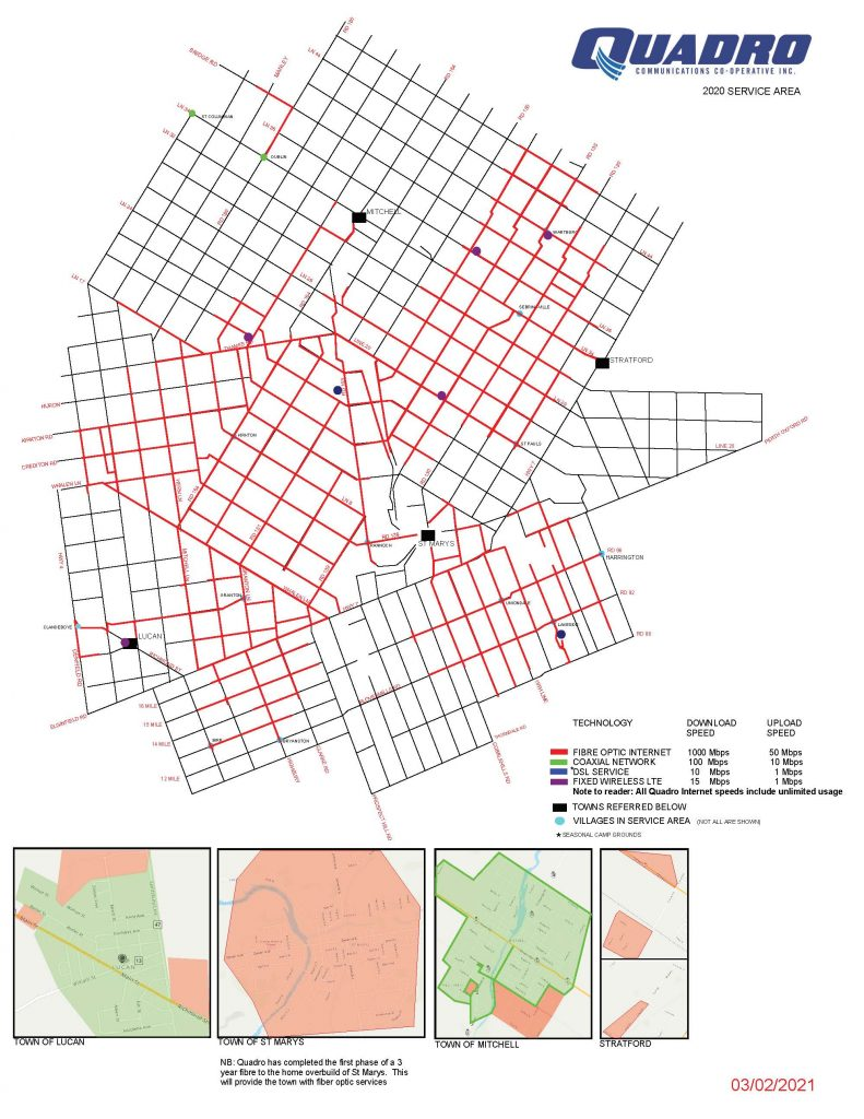 Quadro Service Area 2020 map dated March 3 2021
