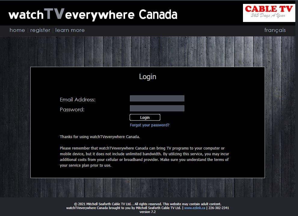 Watch TV Login screen