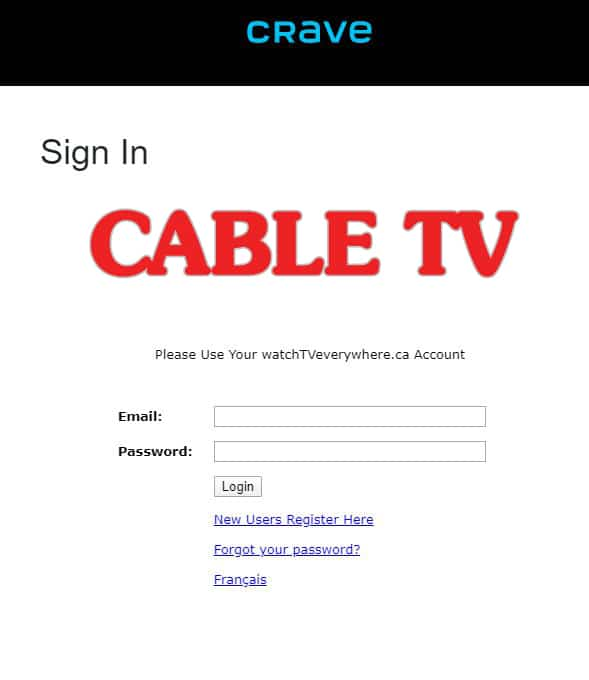 Image of the Cable TV login screen from Crave